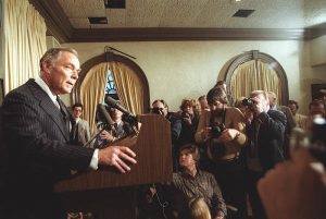 Al Haig, former Secretary of State, speaks to the press about PresidentRonald Reagan's condition after being shot on March 30, 1981