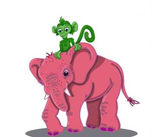 A picture of a green monkey riding a pink elephant