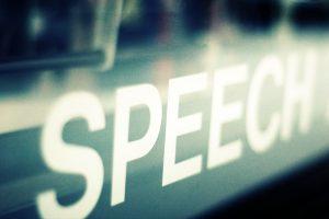 "Decorative photo of the word ""speech"""
