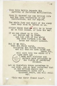 Picture of a manuscript from Winston Churchill