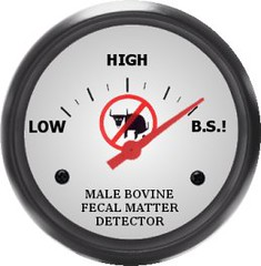 A picture of a dial from low to high that is a male bovine fecal matter detector