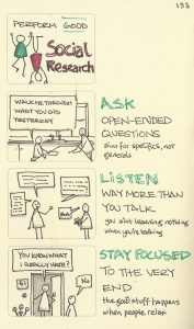 Social research means to ask open ended questions, listen way more than you talk, and stay focused to the very end.