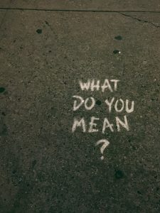 What do you mean is written on the pavement