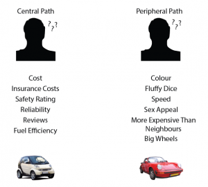 A picture showing how someond looking at a care via the central route thinks about cost and fuel efficiency and someone via the peripheral route notices the color and sex appeal.