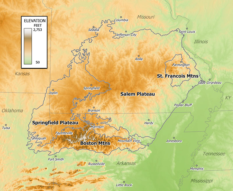 Ozark Mountains Relief Map